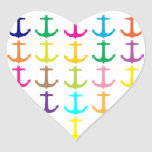 Modelo náutico del ancla de los marineros retros calcomania corazon personalizadas