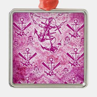 Modelo náutico del ancla del Rockabilly rosado Adorno Cuadrado Plateado