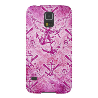 Modelo náutico del ancla del Rockabilly rosado Funda Para Galaxy S5