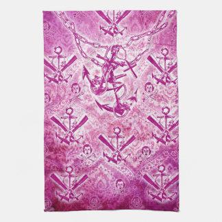 Modelo náutico del ancla del Rockabilly rosado Toalla De Mano