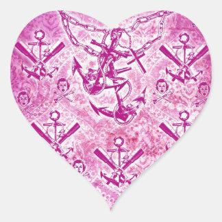 Modelo náutico del ancla del Rockabilly rosado Pegatina En Forma De Corazón