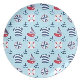 Modelo náutico del ancla del velero para los niños plato de comida