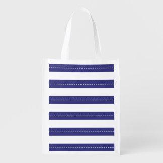 Modelo náutico del azul marino y blanco de las ray bolsas para la compra