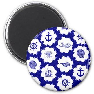 Modelo náutico del azul marino y blanco iman de nevera
