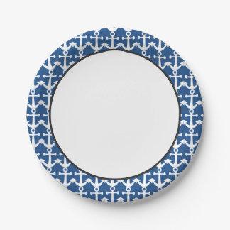 Modelo náutico el | blanco y azul plato de papel de 7 pulgadas
