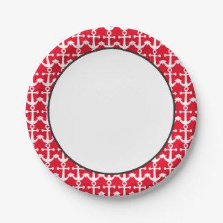 Modelo náutico el | blanco y rojo plato de papel de 7 pulgadas