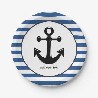 Modelo náutico el | de la raya azul y blanco plato de papel de 7 pulgadas