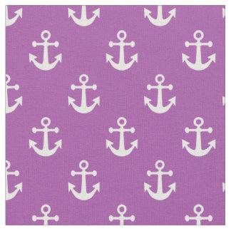 Modelo náutico púrpura y blanco de las anclas telas