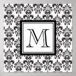 Modelo negro 2 del damasco con su monograma posters