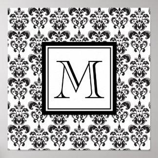 Modelo negro 2 del damasco con su monograma póster