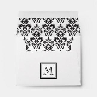 Modelo negro 2 del damasco con su monograma sobres