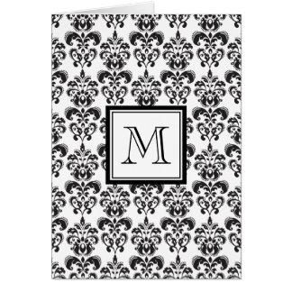 Modelo negro 2 del damasco con su monograma tarjeta de felicitación