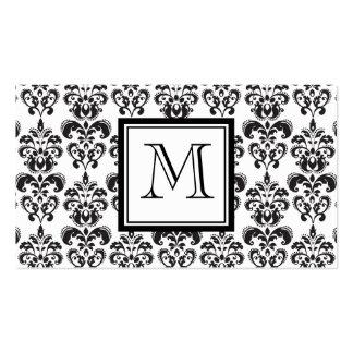 Modelo negro 2 del damasco con su monograma plantilla de tarjeta de negocio