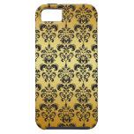 Modelo negro 2 del damasco del vintage del oro iPhone 5 Case-Mate coberturas