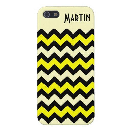 Modelo negro amarillo de la avispa de Chevron iPhone 5 Protector