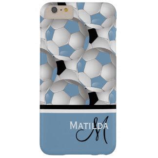 Modelo negro azul claro del balón de fútbol del funda de iPhone 6 plus barely there