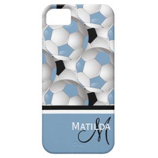 Modelo negro azul claro del balón de fútbol del iPhone 5 protectores