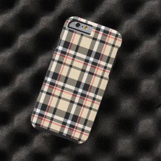 Modelo negro beige rojo de la tela escocesa de funda de iPhone 6 tough