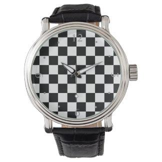 Modelo negro/blanco retro del tablero de damas del relojes