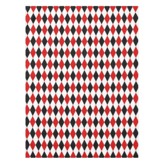 Modelo negro blanco rojo del diamante del mantel de tela