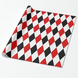 Modelo negro blanco rojo del diamante del papel de regalo