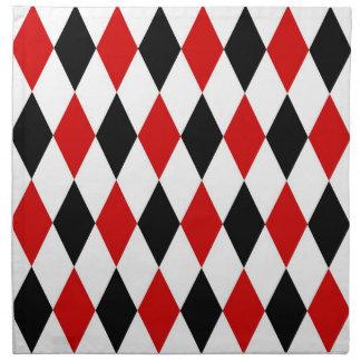Modelo negro blanco rojo del diamante del servilletas imprimidas