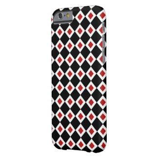 Modelo negro, blanco, rojo del diamante funda para iPhone 6 barely there