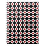Modelo negro, blanco, rojo del diamante libro de apuntes