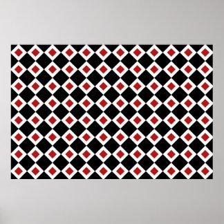 Modelo negro, blanco, rojo del diamante póster
