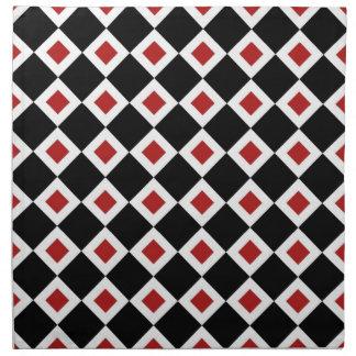 Modelo negro, blanco, rojo del diamante servilletas imprimidas