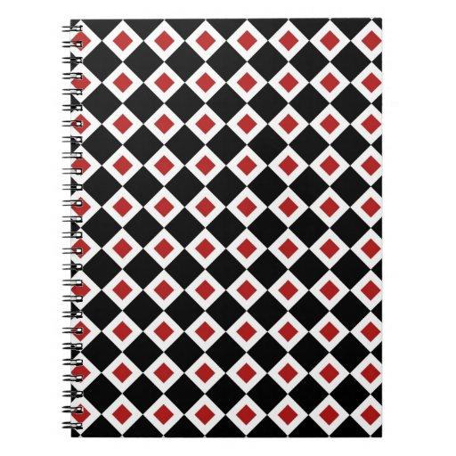 Modelo negro, blanco, rojo del diamante spiral notebooks