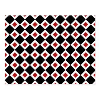 Modelo negro, blanco, rojo del diamante postal