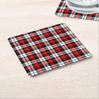 Modelo negro blanco rojo fresco del tartán del posavasos de cartón cuadrado