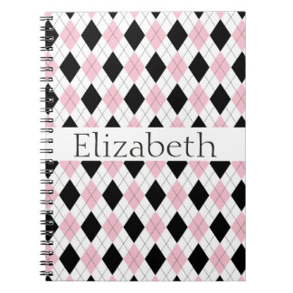 Modelo negro blanco rosado personalizado de Argyle Notebook