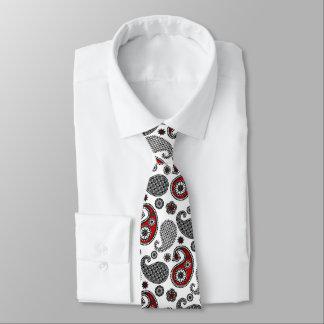 Modelo, negro, blanco y rojo de Paisley Corbata Personalizada