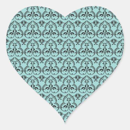 modelo negro complejo del damasco en azul bonito colcomanias de corazon personalizadas