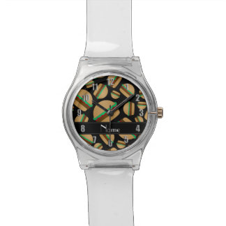 Modelo negro conocido personalizado de la relojes de pulsera