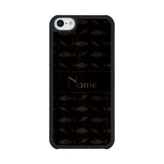 Modelo negro conocido personalizado del atún de funda de iPhone 5C slim nogal