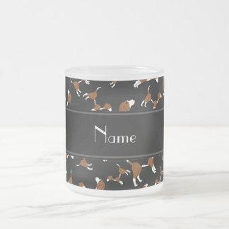 Modelo negro conocido personalizado del perro del taza de cristal