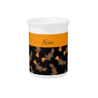 Modelo negro conocido personalizado del platypus jarras para bebida
