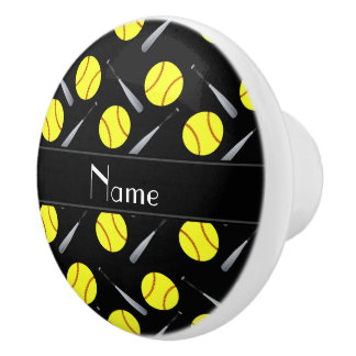 Modelo negro conocido personalizado del softball pomo de cerámica
