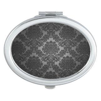 Modelo negro de la pendiente del damasco espejos de maquillaje