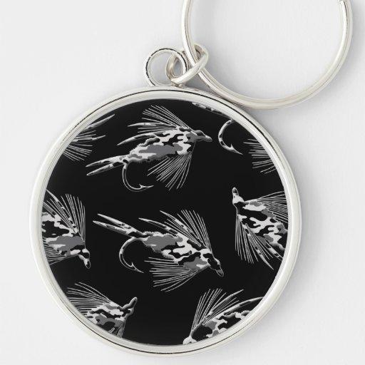 Modelo negro de la pesca con mosca de Camo Llavero Personalizado
