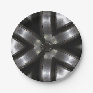 Modelo negro de la placa de papel y de plata platos de papel