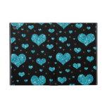 Modelo negro de los corazones de la turquesa del b iPad mini protector
