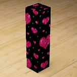 Modelo negro de los corazones de las rosas fuertes cajas para botellas de vino