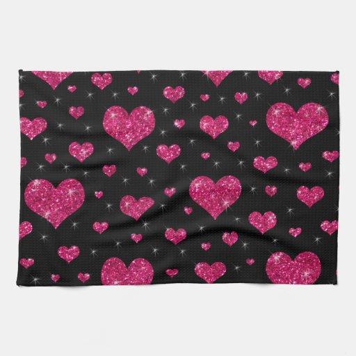Modelo negro de los corazones de las rosas fuertes toallas
