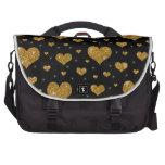 Modelo negro de los corazones del oro del brillo bolsas para ordenador