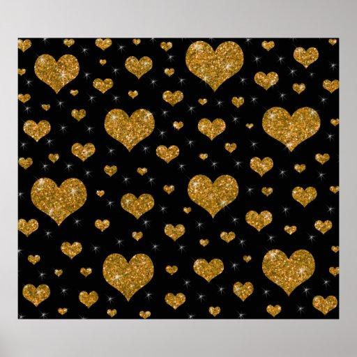 Modelo negro de los corazones del oro del brillo posters