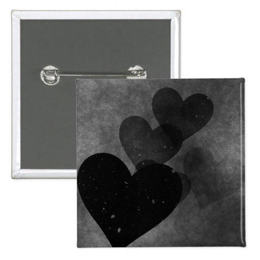 Modelo negro de los corazones pin cuadrada 5 cm